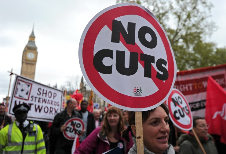 Striking public sector workers march in protest through central London, on May 10, 2012. Hundreds of thousands of British public sector workers were set to strike over pensions Thursday and police were due to protest against Prime Minister David Cameron's austerity measures.